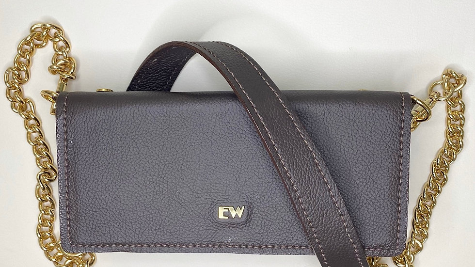Bolsa Exotic Wallets Bovina - Marrom com metais dourados