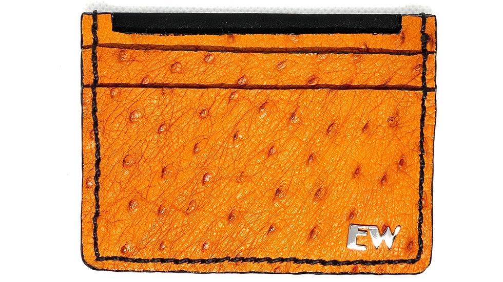 Porta Cartão Exotic Avestruz - Laranjado com costura preta