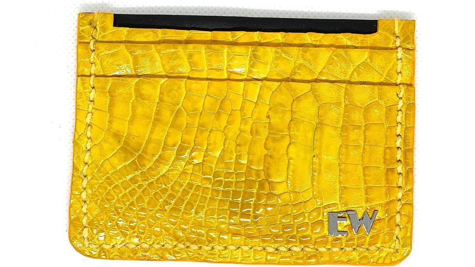Porta Cartão Exotic Caiman - Horn Back - na cor amarela