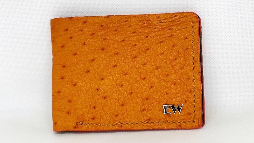 Carteira Exotic Avestruz - Laranjada com costura laranja