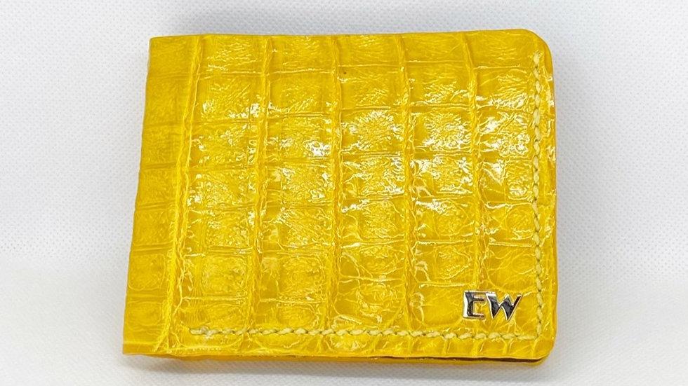Carteira  Exotic Caiman - Belly - na cor amarela