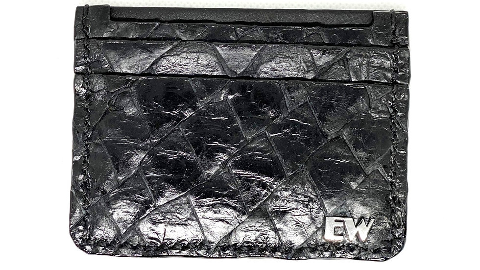 Porta Cartão Exotic Pirarucu - na cor preta