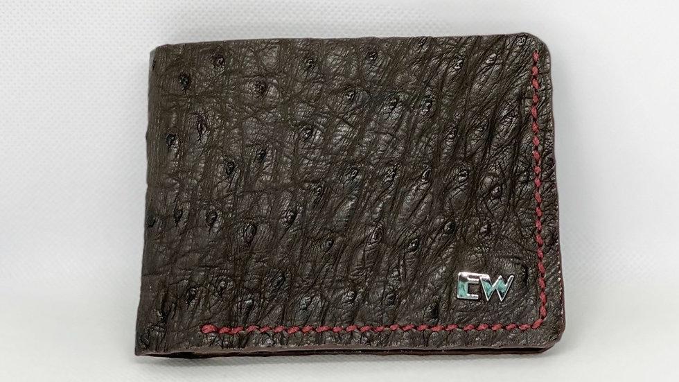 Carteira Exotic Avestruz - Marrom com costura vinho