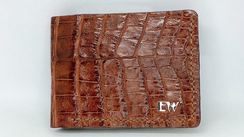 Carteira  Exotic Caiman - Belly - na cor marrom