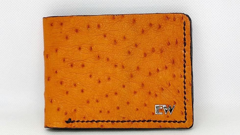 エキゾチックなダチョウの財布-黒のステッチが施されたオレンジ
