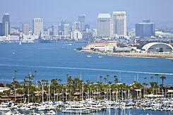 View of San Diego skyline hazy atmospher