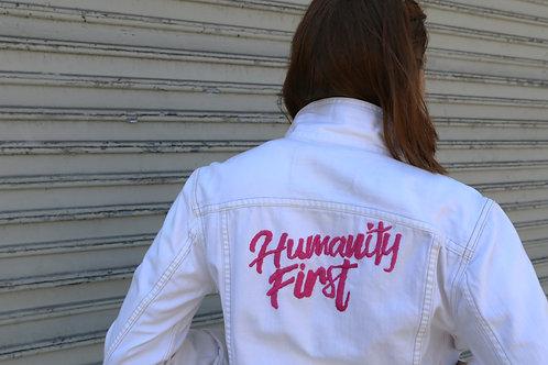 Humanity First white denim jacket
