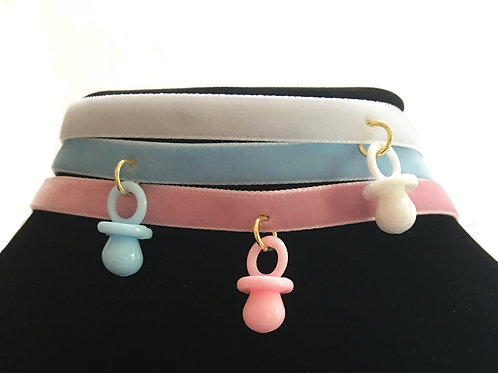 Mini binky on Velvet strap - Available in 3 colors