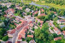 Aerial view of old town in city Kuldiga,