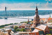 Riga, Latvia. Riga Cityscape In Sunny Su