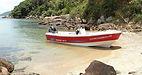 Lancha KRAUSE TR 17 modelo Panga na praia paradisíaca