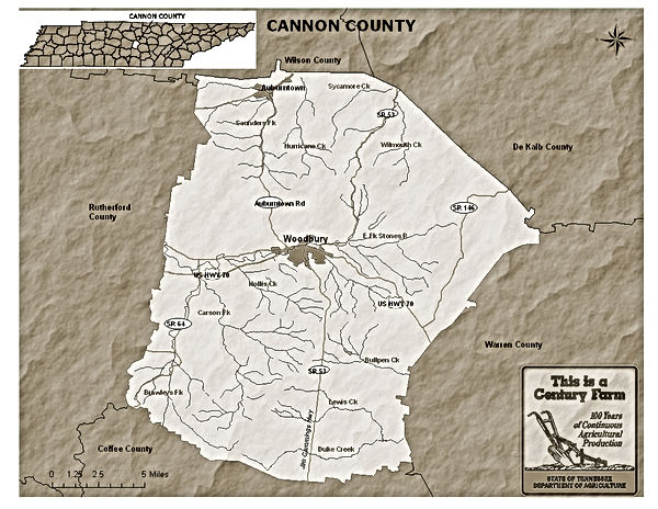 Cannon County Tennessee Map | Todds of Carson's Fork