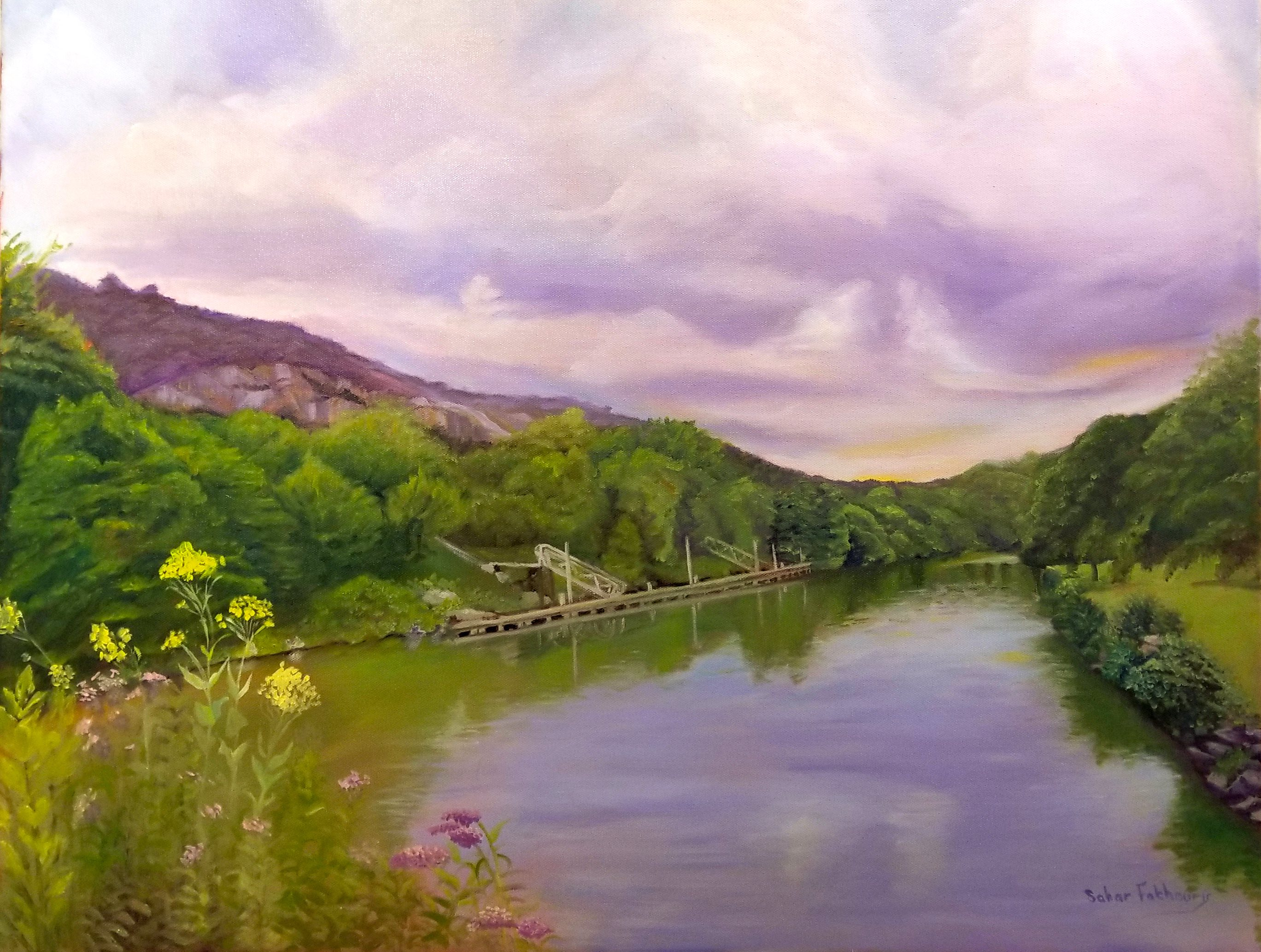 Sahar Fakhoury _Peaceful Lake Lure_, oil