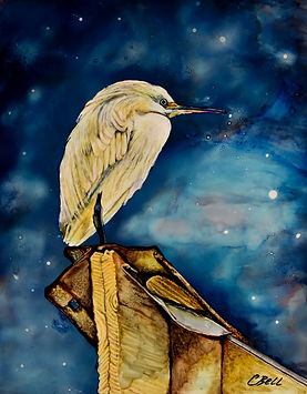 Chris Bell_Egret on a Tin Roof_14x11_Alc