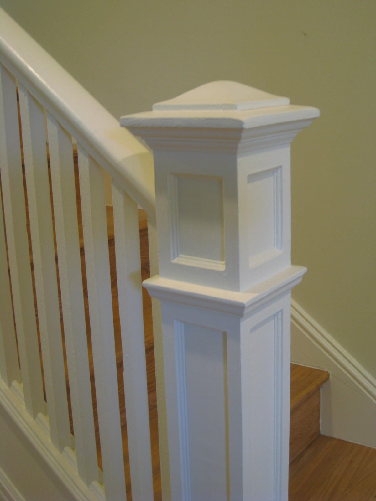 A painted newel post