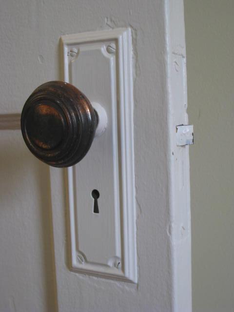 A typical door hardware set