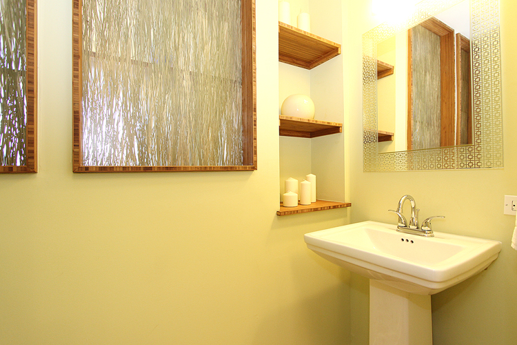 Custom bamboo trim and shelves