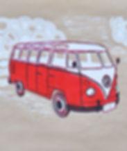 Schülerarbeit, VW Bus, Linolschnitt