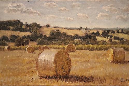 Breton landscape with hay bales