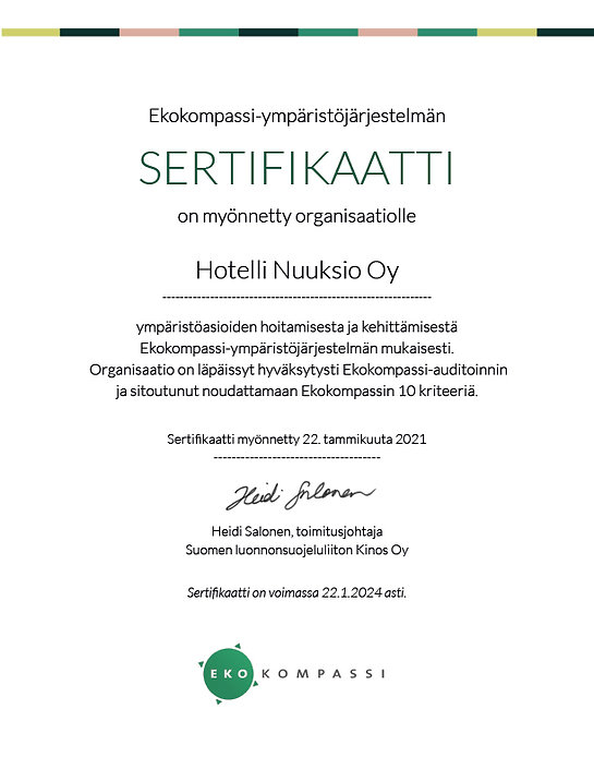 Ekokompassi-sertifikaatti Hotelli Nuuksi