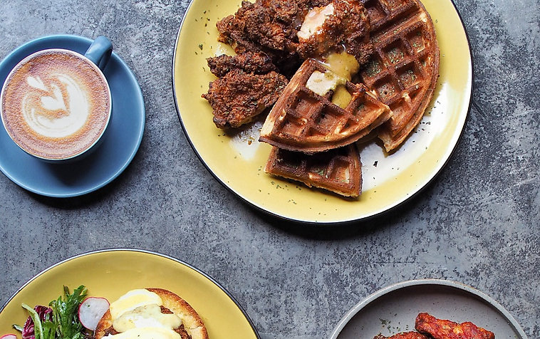 Fusion Cuisine Food Photography Chicken Waffles