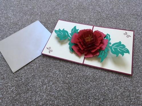 Red flower pop up card beautiful red flower 3d pop up greeting card m4hsunfo