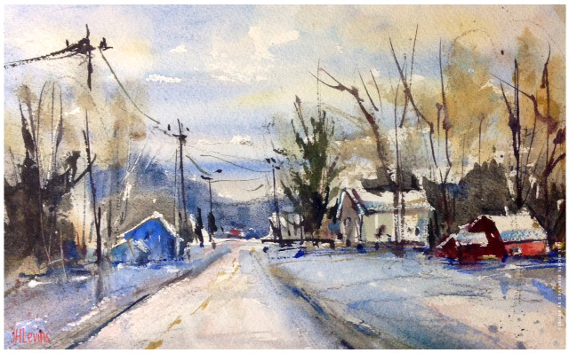 """""""Red, White & Blue Winter"""" watercolor by JHLevins"""
