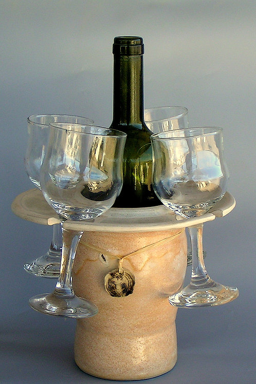 one of a kind wine bottle and glasses container.