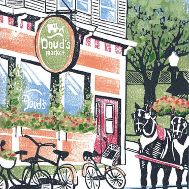 Doud's Market #2 - Multicolor Linoleum Block Print