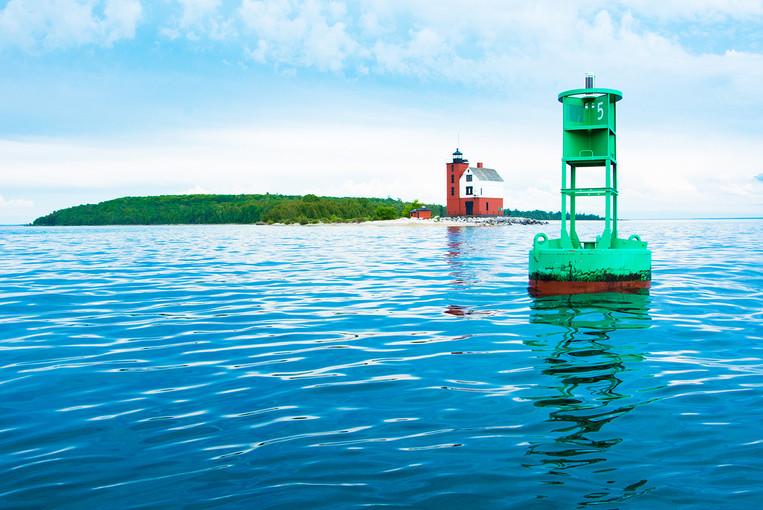 Morning reflections of Round Island Lighthouse