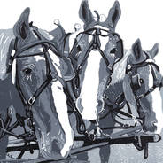 Three Horse Team in Monochrome - Grayscale Linoleum Block Print