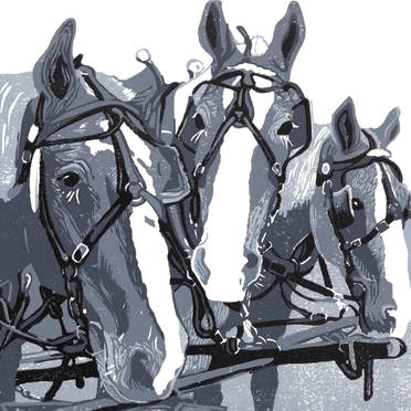 Three Horse Team in Monochrome - Grayscale Linoleum Block Print