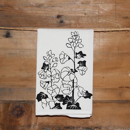 Hollyhocks Tea Towel