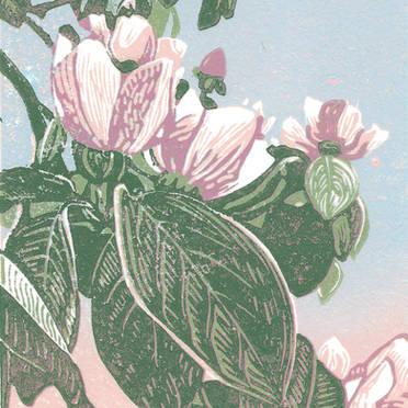 En el Jardin de la Isla - Multicolor Linoleum Block Print
