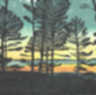 Sunset & Tree Silhouettes Multicolor Block Print