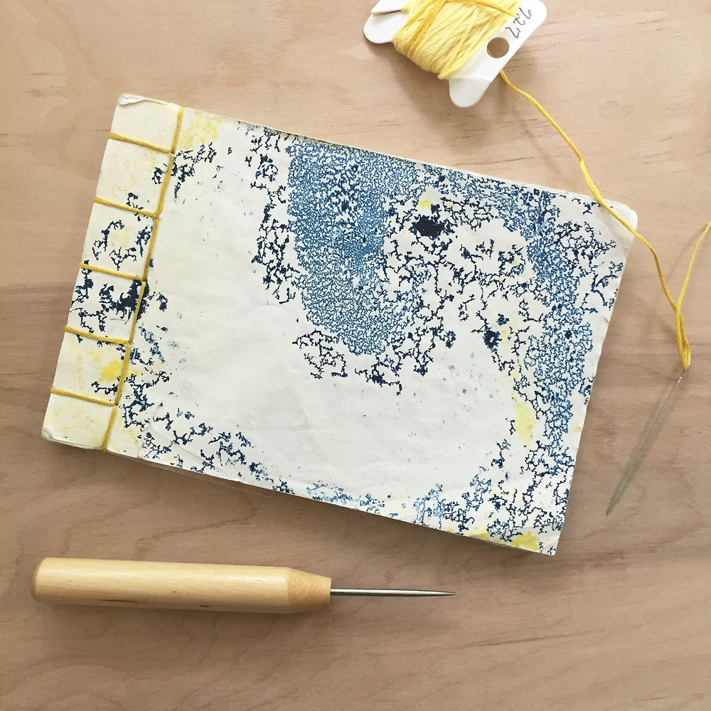 Blue and yellow Japanese stab bound journal