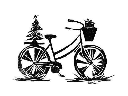 Holiday Bike | Original Block Print
