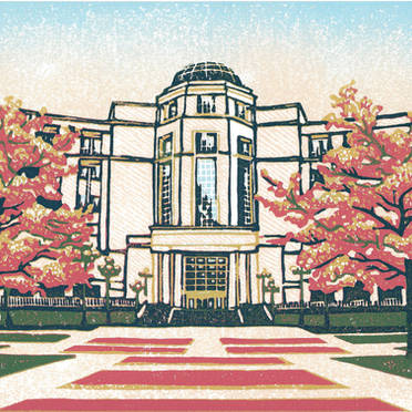 Michigan Supreme Court #1 - Multicolor Linoleum Block Print