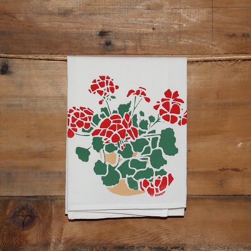 Red Geraniums Tea Towel