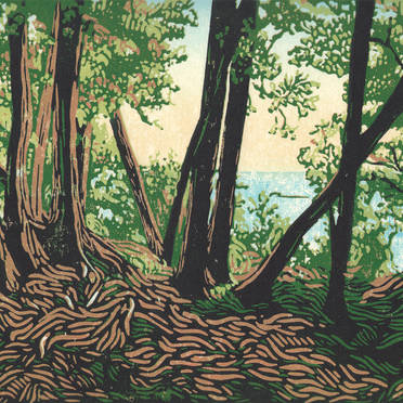 Trail Lookout - Mackinac Island Natural Landscape Multicolor Linoleum Block Print