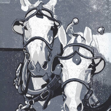 Two Horse Team in Monochrome - Grayscale Linoleum Block Print