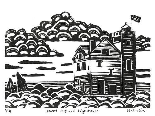 Round Island Lighthouse | Original Block Print