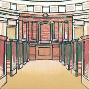 Michigan Supreme Court #4 - Multicolor Linoleum Block Print
