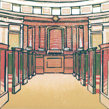 Michigan Supreme Court #4 - Multicolor Linoleum Block Print