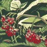 Wild Raspberries - Multicolor Linoleum Block Print