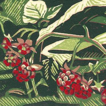 Wild Raspberries - Multicolor Linoleum Block Print