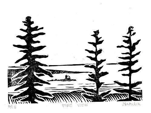 Pine View | Original Block Print