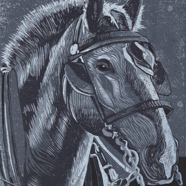 Horse in Monochrome - Grayscale Linoleum Block Print