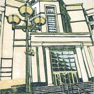 Michigan Supreme Court #2 - Multicolor Linoleum Block Print