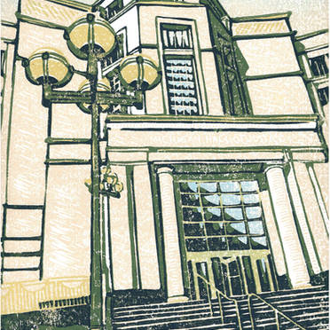 Michigan Supreme Court #2 - Multicolor Linoleum Block Print